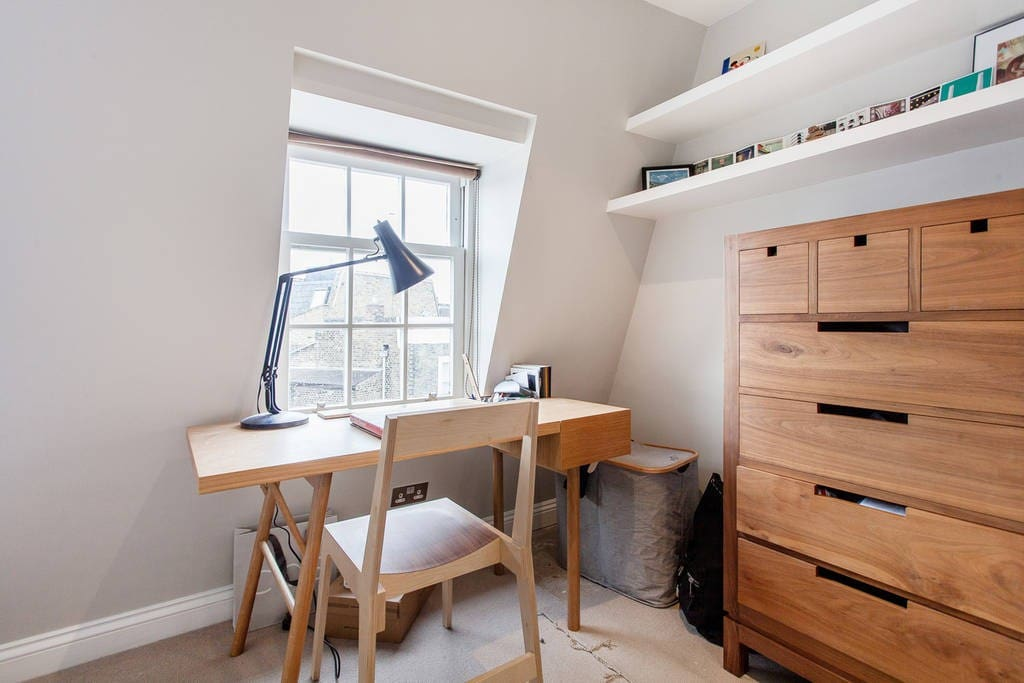Desk, shelves and storage space