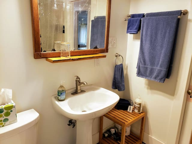 The bathroom is stocked with scent free amenities and has a family friendly bathtub and shower with custom tile.