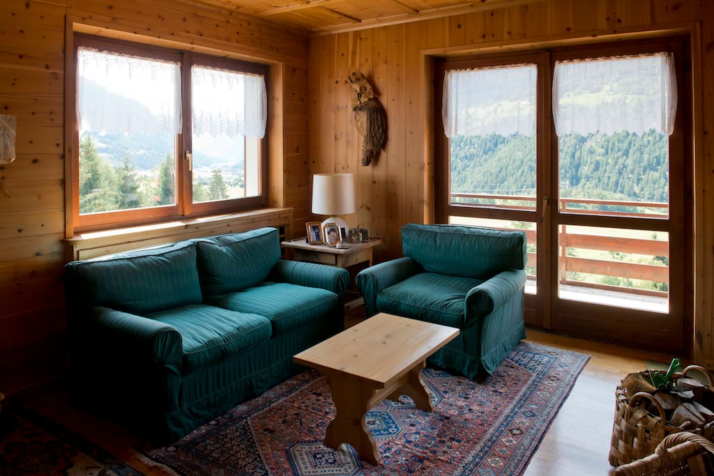 Large windows with views of the valley