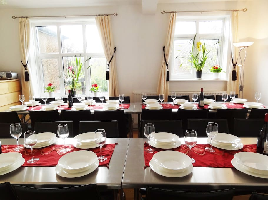 4* Group Retreat: Dining Room seats 32 in comfortable leather chairs - overlooks the gardens