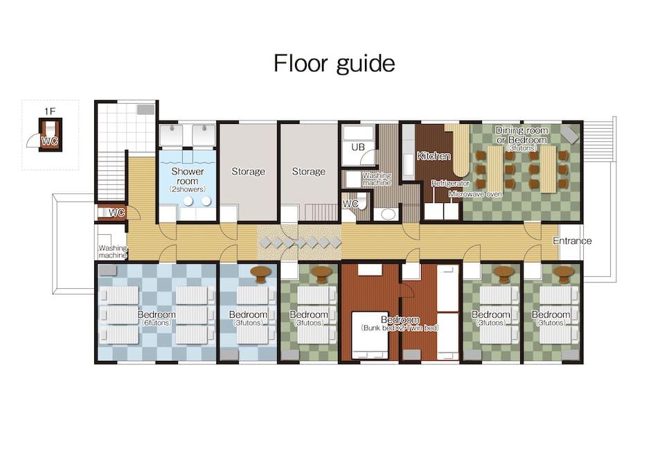 施設内の見取図 Layout of SAKURA HOUSE