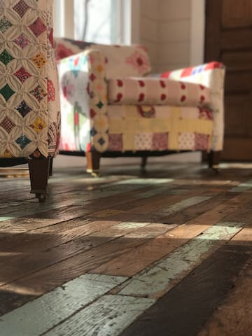 Be sure to read our guest book to learn the history of our reclaimed floor.