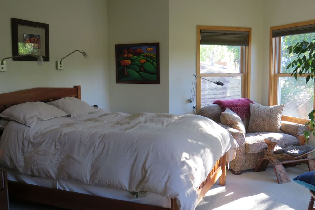 Upstairs bedroom with views of Flatirons.