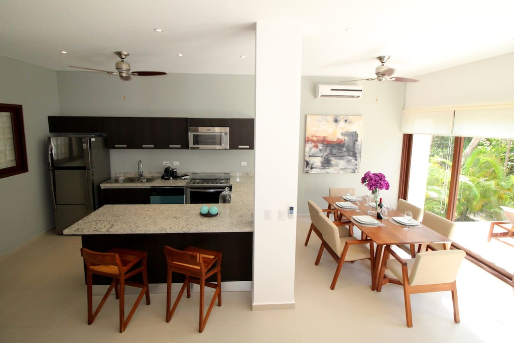 Kitchen withbreakfast bar and a separate dining area