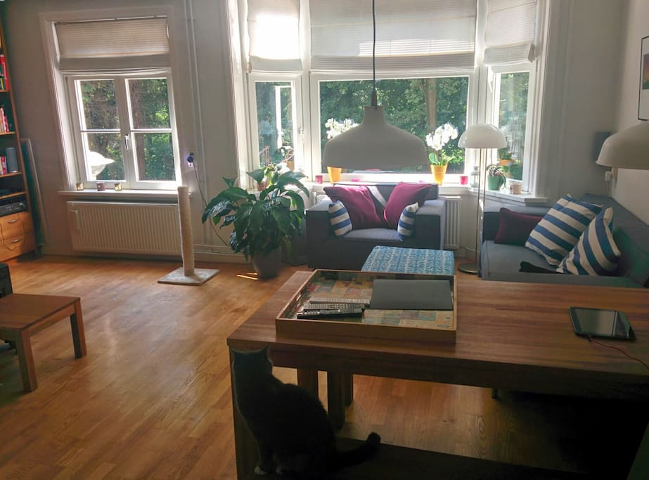 Spacious living room from which you look right into the forrest/park