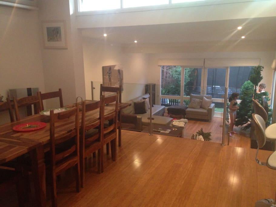 Open-plan, split level living area