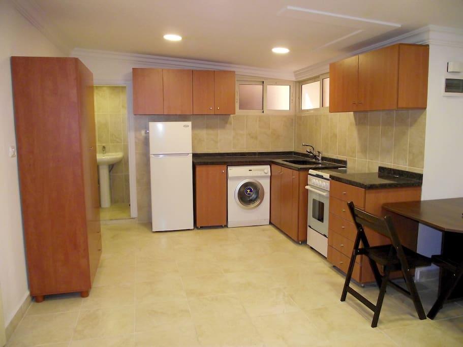 Studio's kitchen area