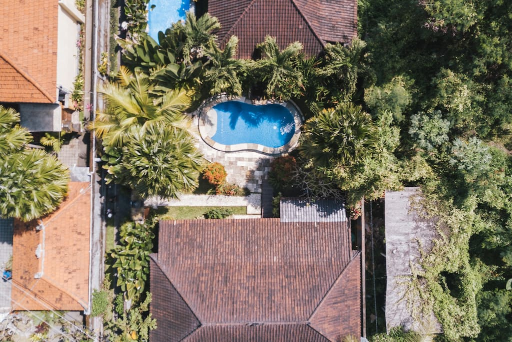 Seen from above, you see the lush garden surrounding the private pool. The pool, clad in deep blue tiles and encircled with tiles made of sand stone is filled with crystal clear water. It is approx. 7m x 2,5m. There are stairs and shallow water at one and and 1,8m deep at the other end.