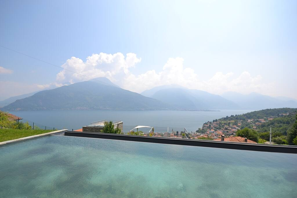Infinity pool with breathtaking lake view