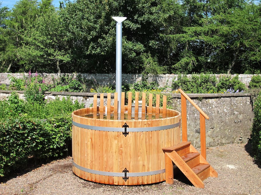 Wood powered hot tub. Room for 8.