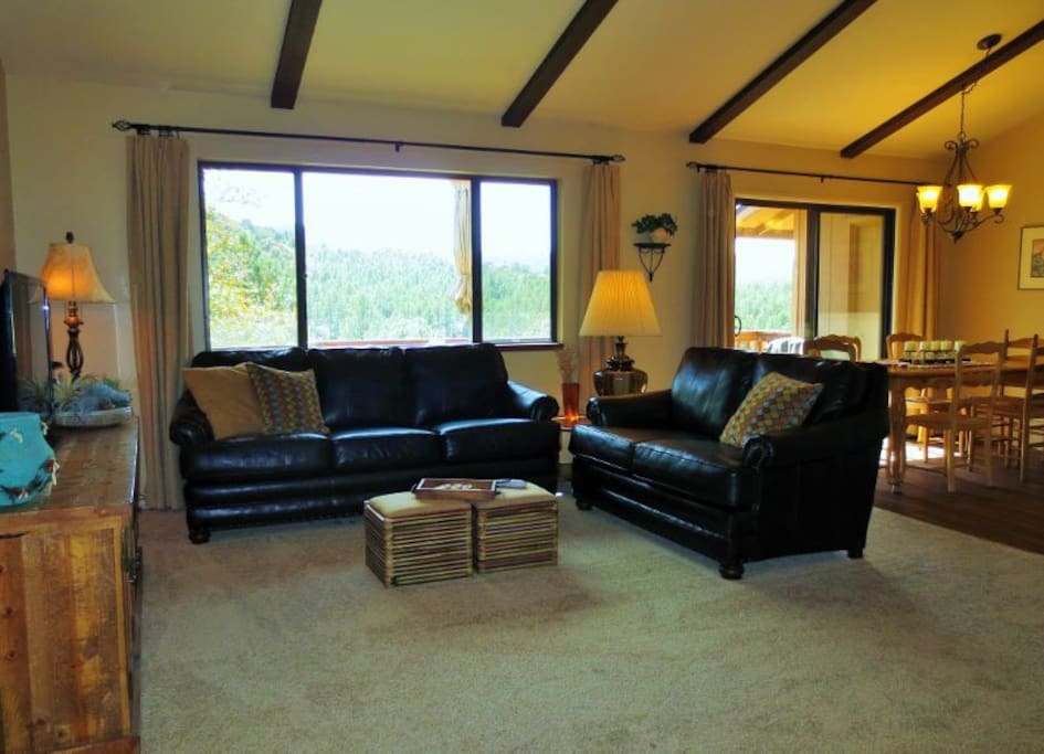 Living Room with Views of Thumb Butte and Mountains