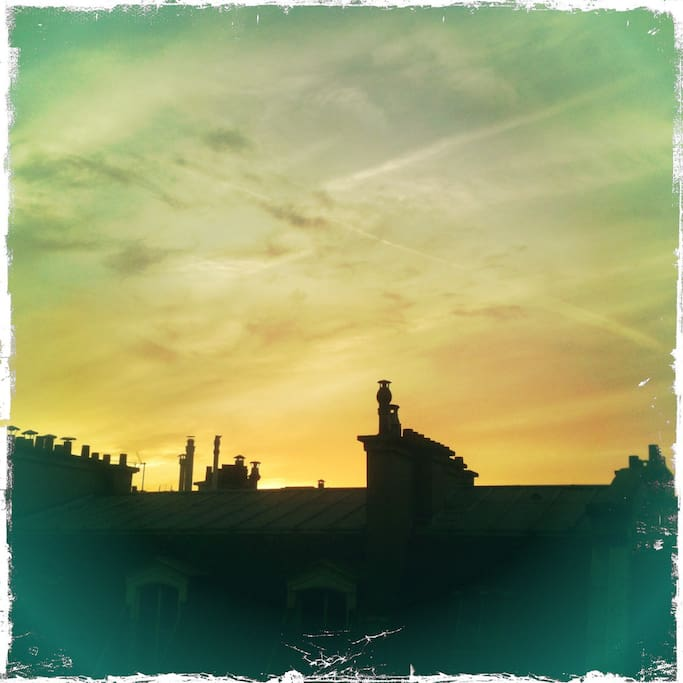 Sunset over the rooftops - view from living room