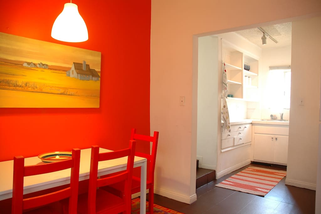 Kitchen with dining area, a place to prep food or eat breakfast