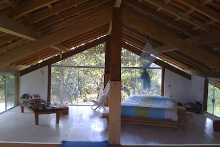 Modern loft style house on 4 hectares (10 acres) of Atlantic rainforest (Mata Atlantica) classified by Unesco as a biosphere reserve. Very secluded, the property has a private road to the beach, 200 meters away.