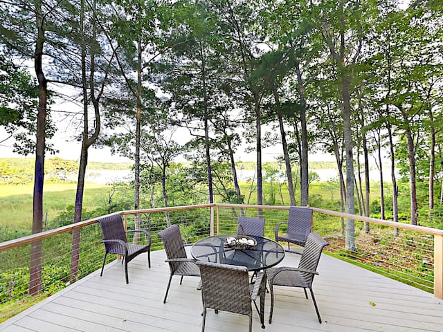 Enjoy the beautiful nature views in the comfort of the deck seating.