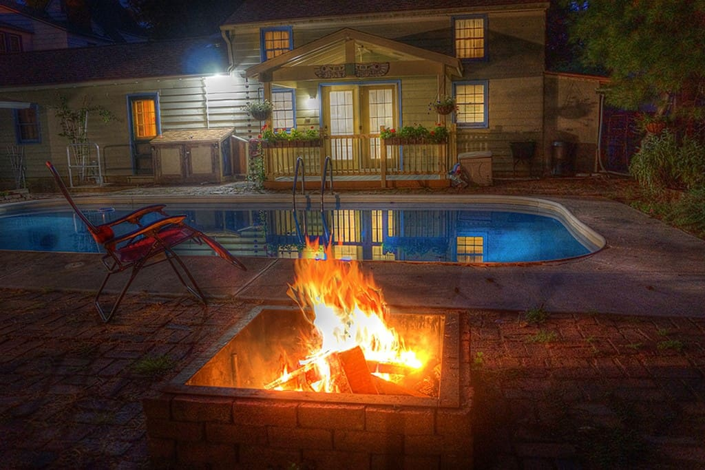The Pool House viewed from the fire pit.