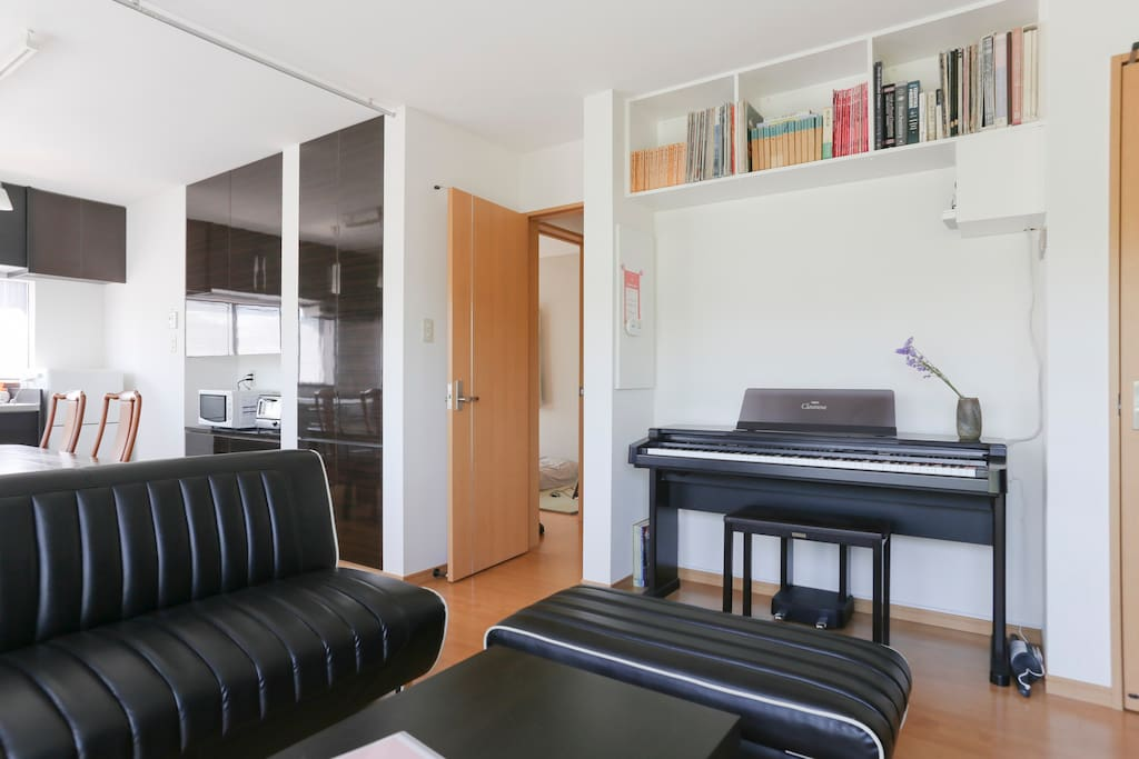 Guest's PRIVATE Kitchen, Dining-Living room with  Electronic Piano (YAMAHA Clavinova)