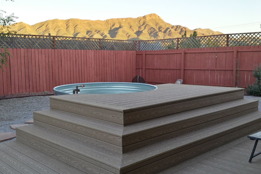 Enjoy the epic view of Turtle Mountain from the deck and hot mineral bath.