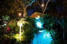 Turtle Beach Waterfall at night