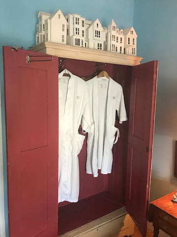 Robes provided for convenience and comfort.