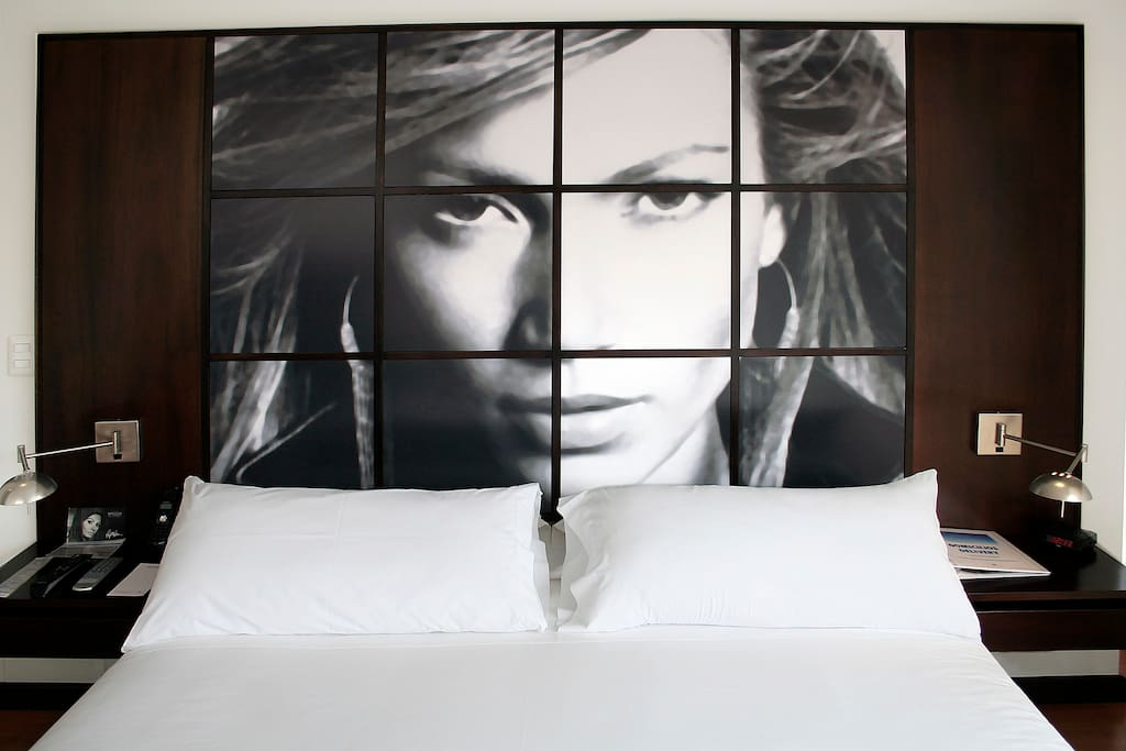 Themed bedroom and queen size bed.