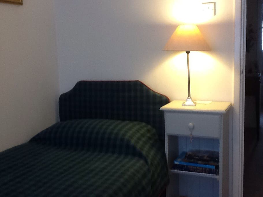 Bedroom 2 - single room, overlooking the garden, excellent quality linen and very comfortable bed.