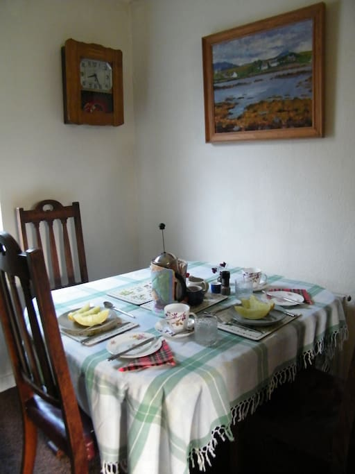 Traditional dining room in my house. This is where you would have your breakfast.