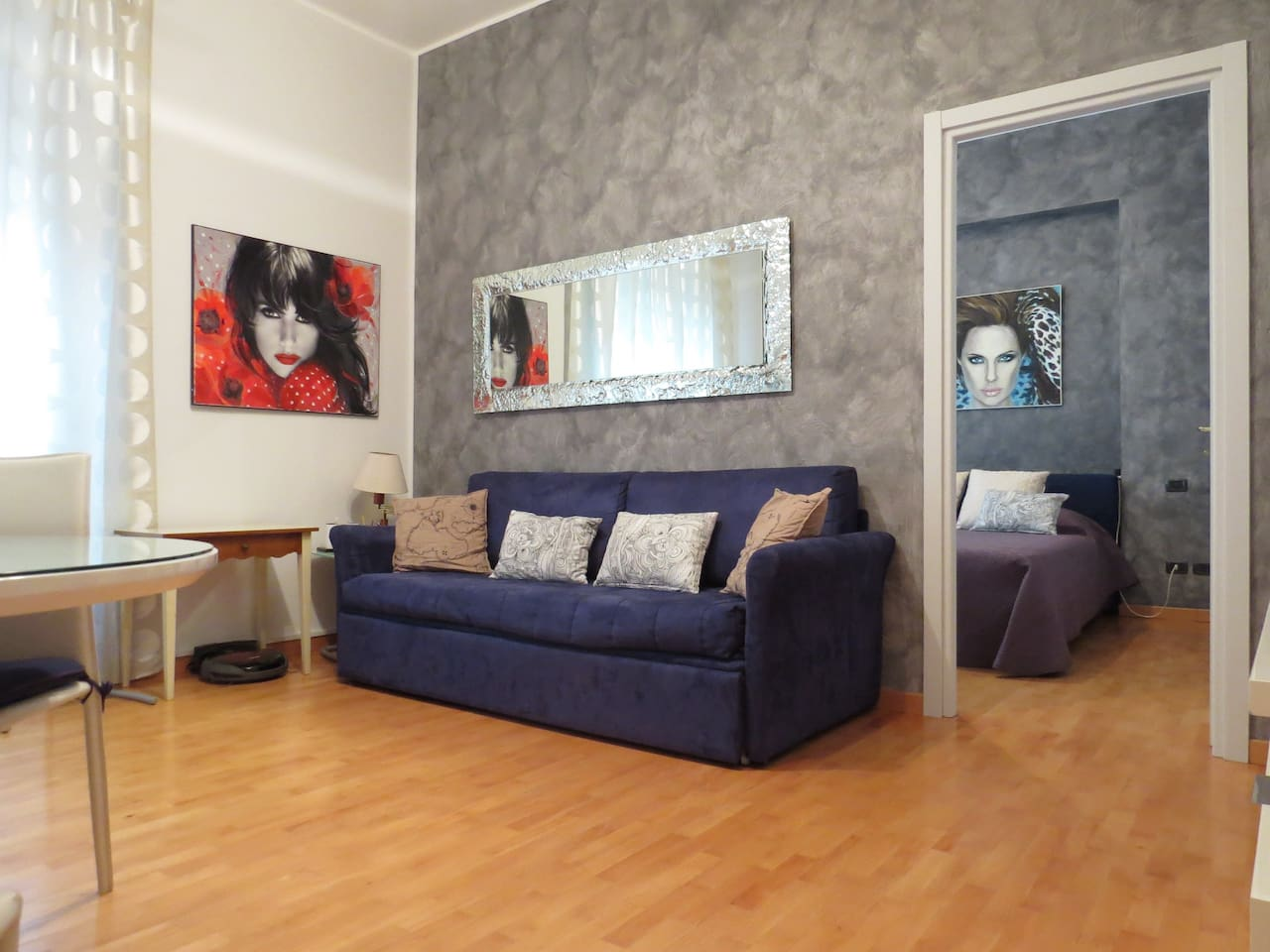 living room with double bed sofa (one double or two single bed)