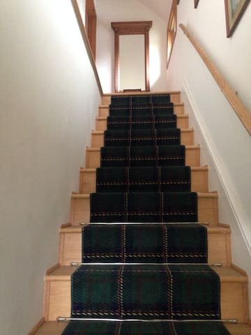 Stairs to guest rooms.