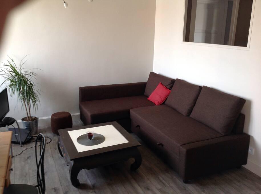 Grande pièce à vivre avec salon et cuisine ouverte, le canapé est convertible et peut accueillir deux personnes pour dormir...