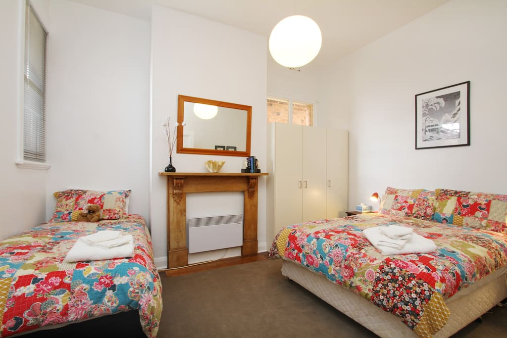 Spacious second bedroom which can sleep three people