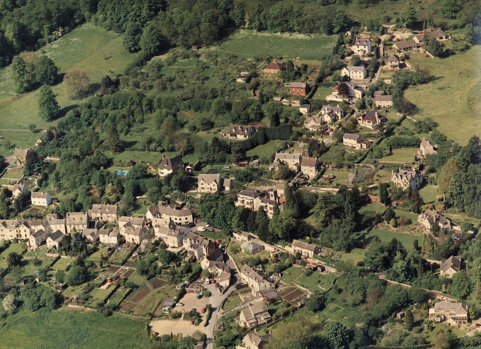 Ariel View of South Woodchester with Bospin Lane on the hillside