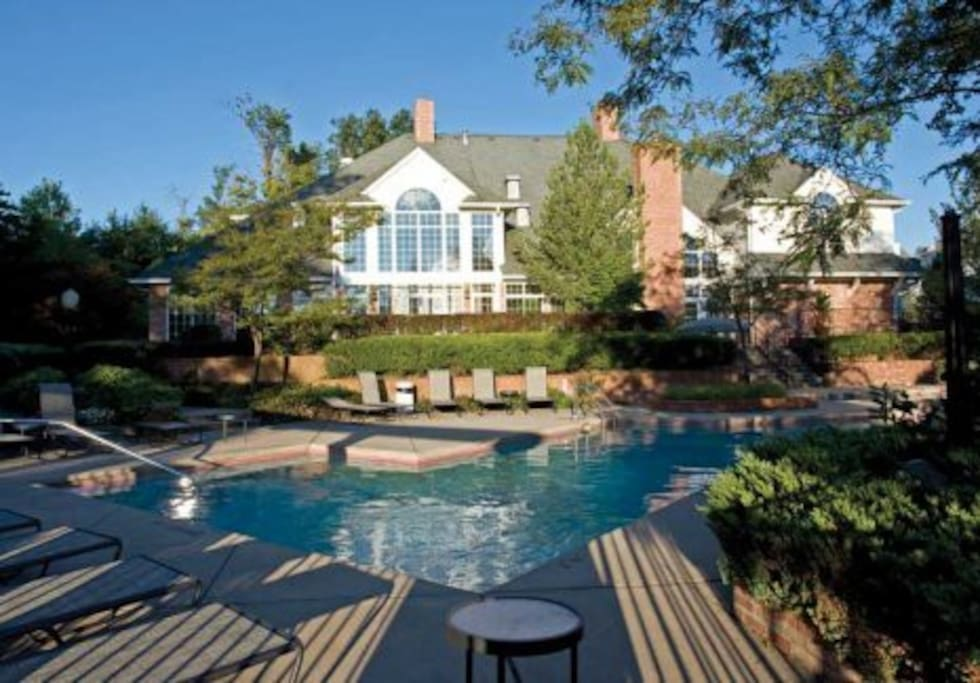 Welcoming clubhouse with both indoor and outdoor pools.