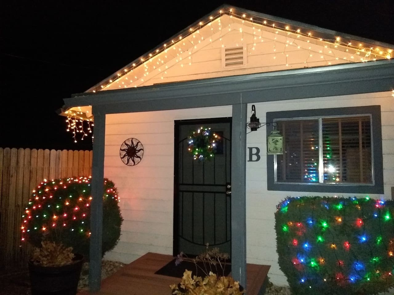 Decorated for the Holidays, inside and out.