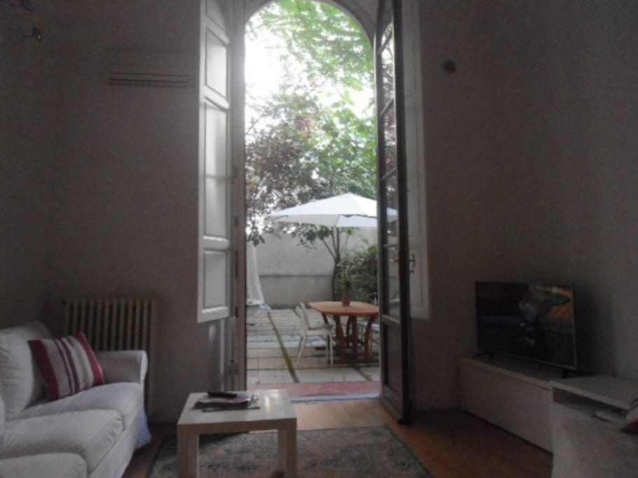 View from inside out towards private courtyard