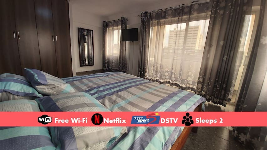 1BR King, Fast Wi-Fi, DSTV, In City Centre. #B1