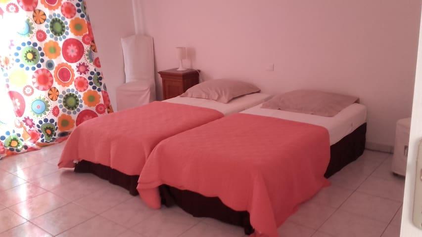 Grande chambre 2 lits jumeaux attenante à la chambre  (photo au-dessus) avec sa salle de douches complèteprivée