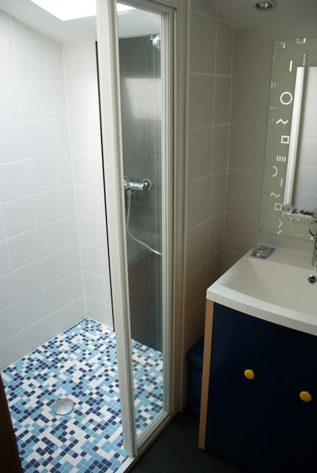 La salle de bains privative avec une grande douche à l'italienne.