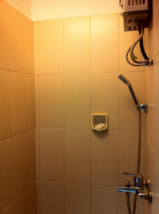 Shower with hot & cold water