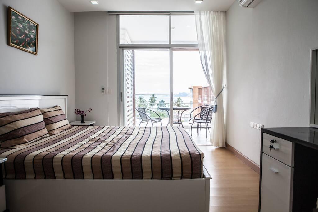 Master bedroom (balcony in back)