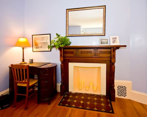 1880's / Victorian hand carved mantel with antique desk