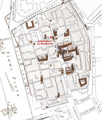 Cartina del centro storico d'Albenga - Map of History Town
