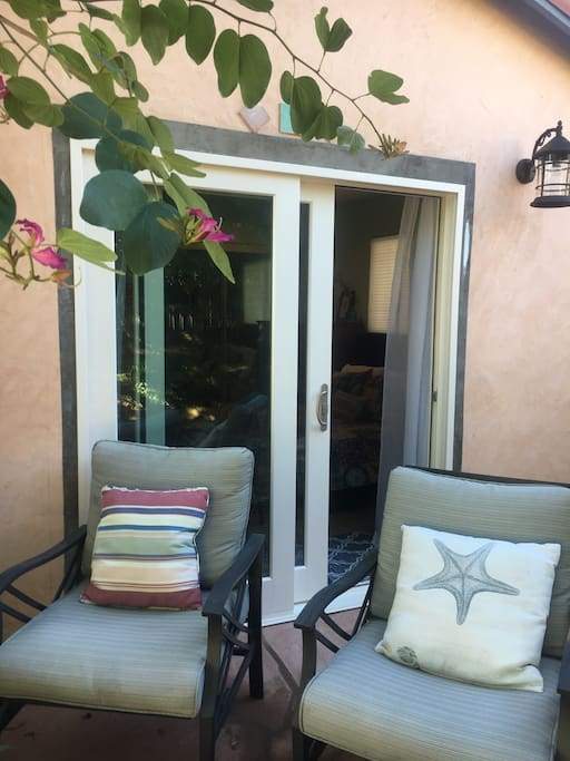 Private patio and entrance