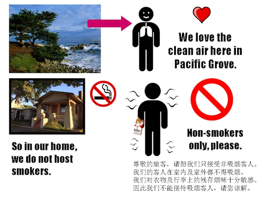 Because we are very sensitive to the smells of cigarette smoke, we only host non-smokers here. This does not mean that it is okay for smokers to stay here and smoke only outside. Non -smokers only, please.