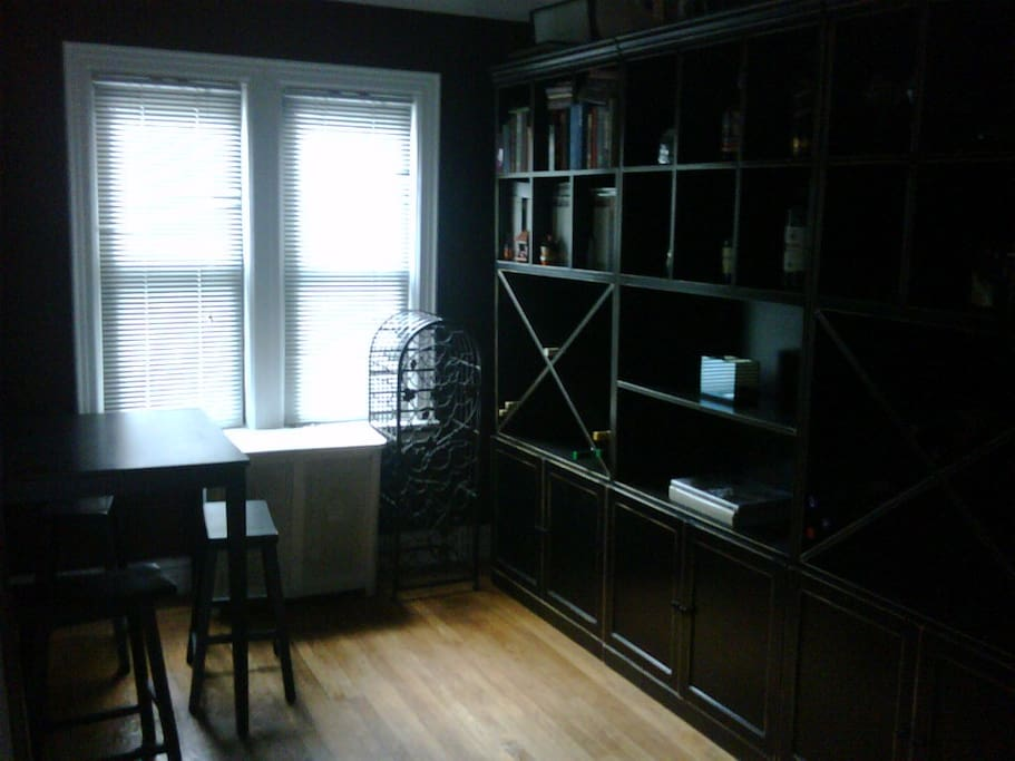 Custom made unit with X shelves for wine storage. Often the focal point in photo shoots.
