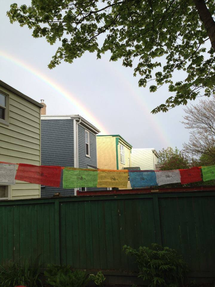 View from the backyard deck with rainbows