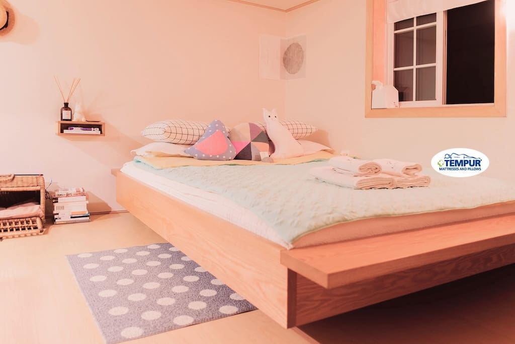 (Second floor) B E D  R O O M 1. Western-style bedroom with , queen-size TEMPUR Mattress
