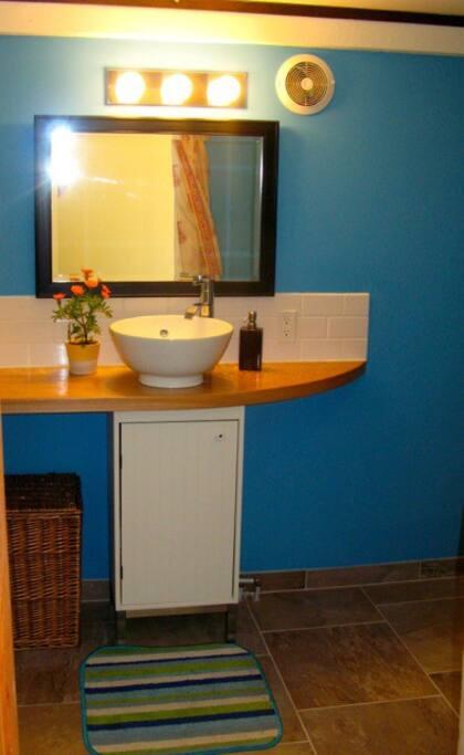 A stylish and comfortable bathroom.