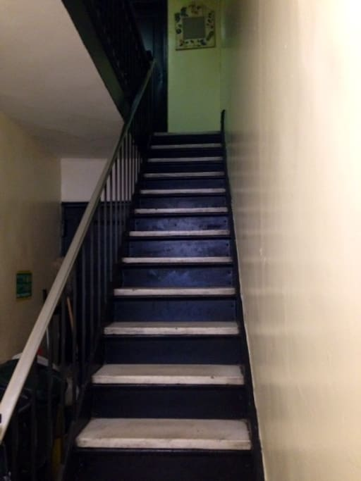 Stairs to apartment (there are 3 flights of stairs)