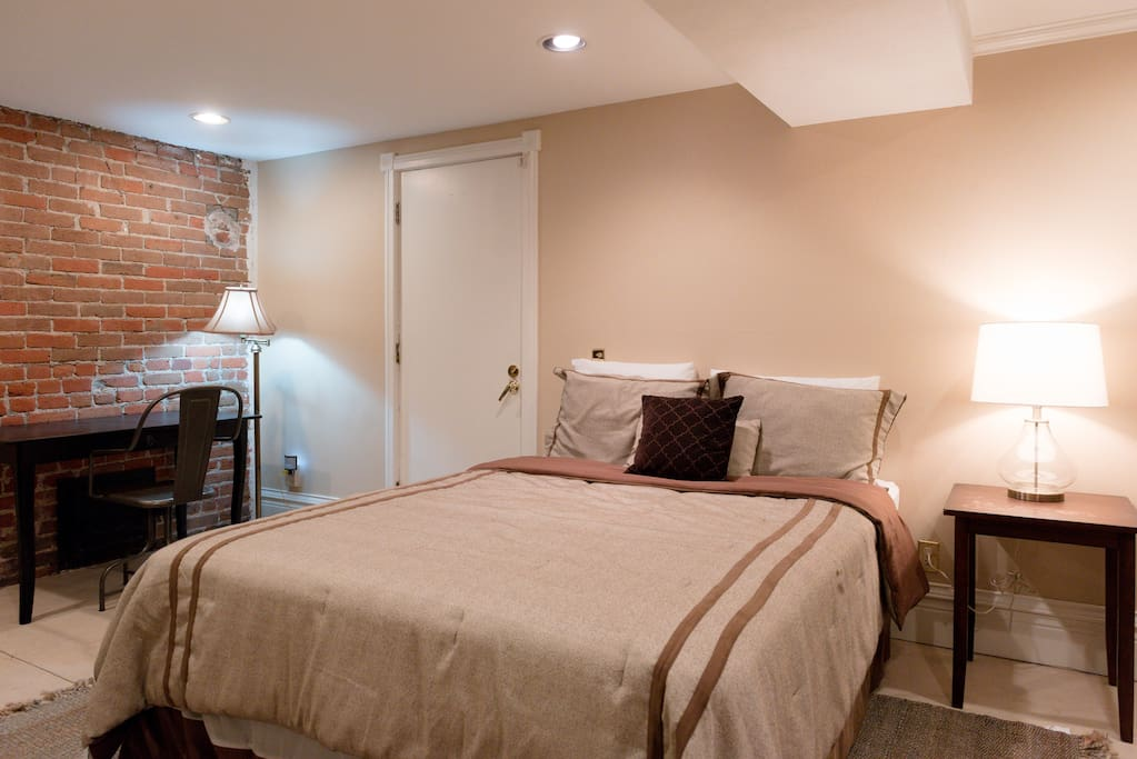 Guest Bed and Writing Desk, Exposed Brick